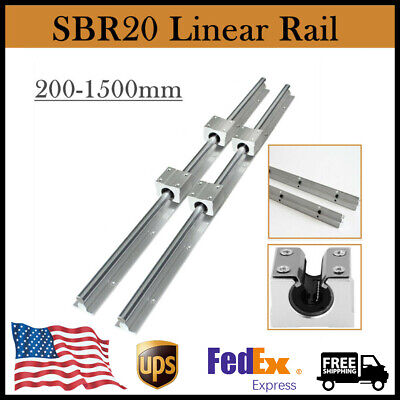 Sbr20 Linear Rail Guideway Slide 2x Rod 200-2000mm 4x Sbr20uu Block Bearing