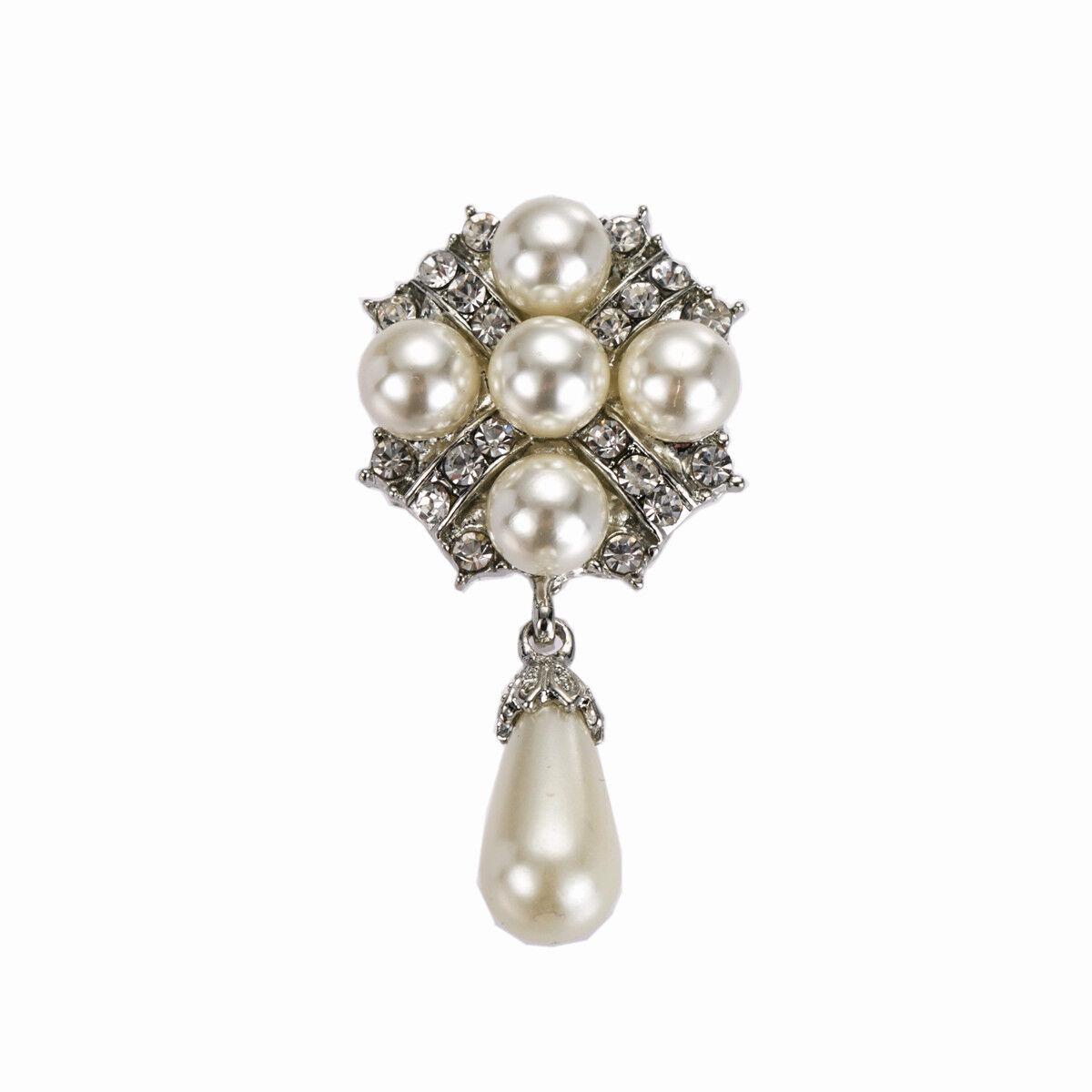 Weiß Elfenbein Perlen Braut Kleid Schuhe Hochzeit Lang Brosche Damen Dekoration