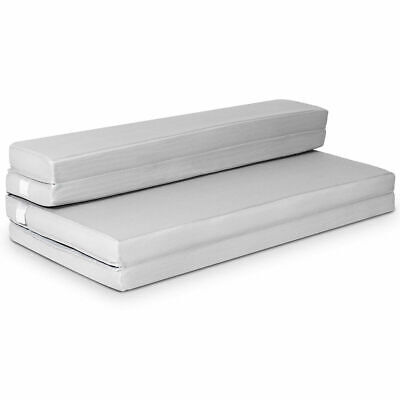 """4"""" Queen Size Foam Folding Mattress Sofa Bed Guests Floor Mat Carrying Handles"""
