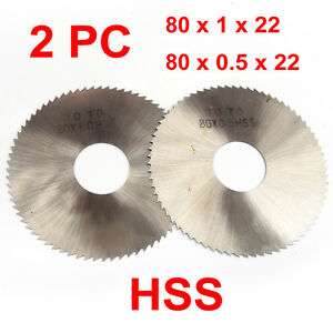 2PC HSS Milling Slotting Cutter 80x22mm, 0.5-1mm 72 Teeth, Slitting Saw Disc