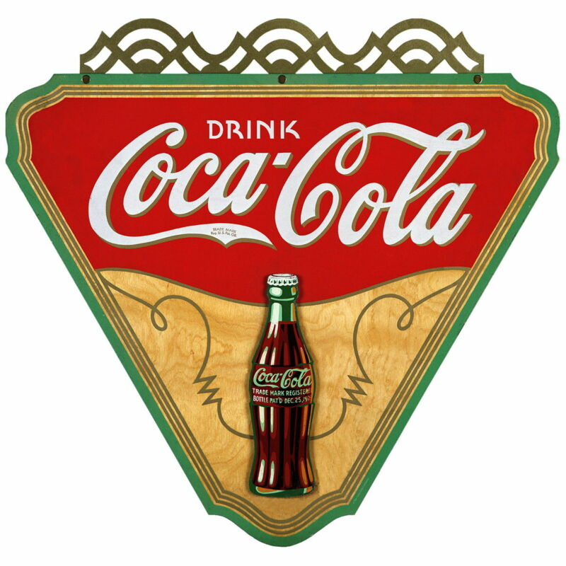 Coca-Cola Drink Triangle Gilded Wall Decal 24 x 23 Vintage Style Kitchen