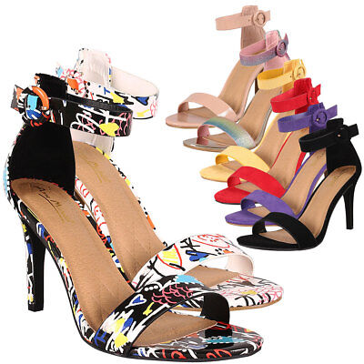 Classic High Heel Sandals - Classic Open Toe Ankle Strap Single Sole Med High Stiletto Heel Sandal Pump Shoe