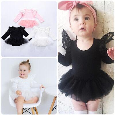 Baby Girl Fly Sleeve Romper Dress Plain Bodysuit Jumpsuit Clothes Winter - Fly Girl Costume