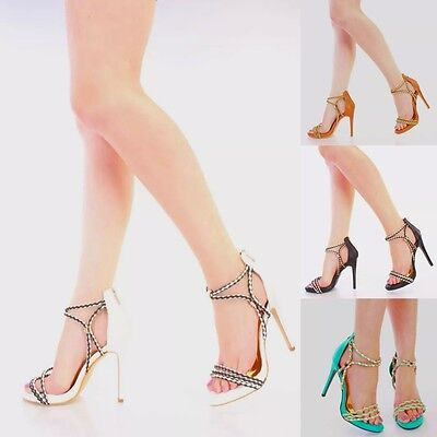 NEW Woven Ankle Braided Strap Stiletto High Heel Sandal Platform Pumps Size H121 Pump Medium Heel Ankle Strap