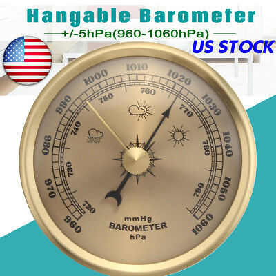 US 70MM Thermometer Wall Hanging Barometer Weather Meter Pressure 960 1060hPa