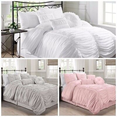 Duvet Collection (Chezmoi Collection 7-Piece Shabby Chic Ruched Ruffle Textured Duvet Cover Set )