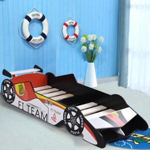 Kids Racing Car Junior Bed Toddler Children Wooden Race Furniture Bedroom Boys