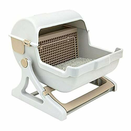 Self Cleaning Cat Litter Box Premium Automatic Lid Cover Toilet White Milk Brown