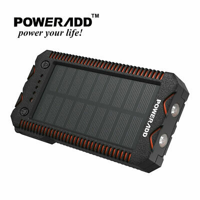 Poweradd Waterproof 12000mAh Dual USB Solar Power Bank Outside Battery Charger