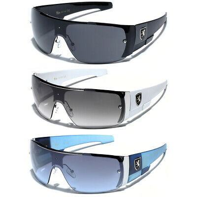 Oversized Men Flat Top Sports Sunglasses Black White Blue Cheap Sunglasses - Inexpensive Sunglasses