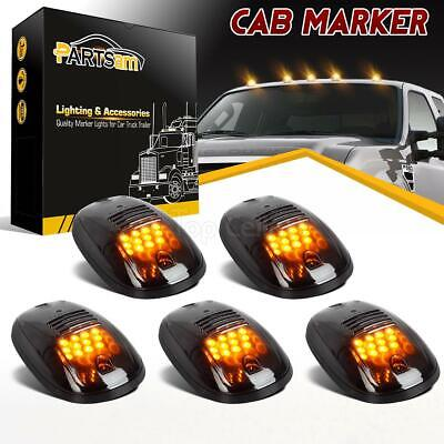 5xAmber 12 LED Smoked Cab Roof Running Marker 264146BK Lights Truck Car Off Road
