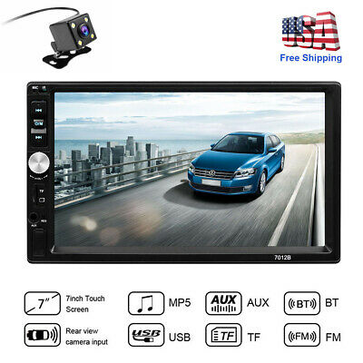 "7"" Car Stereo Radio HD Mp5 Player Bluetooth Touch Screen Radio 2din +Rear Camera"