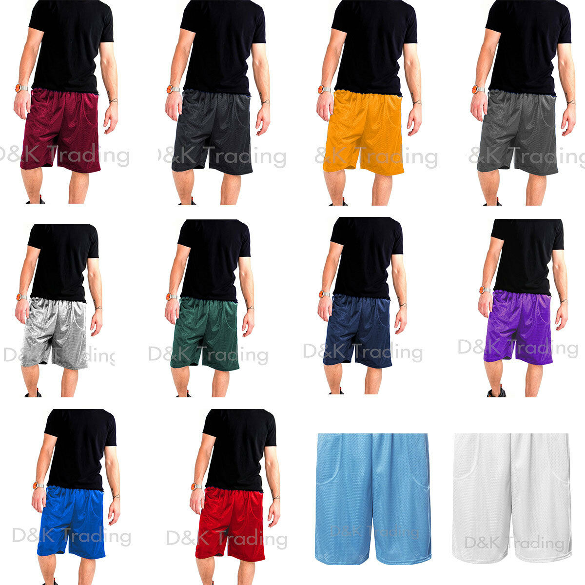 Men's Mesh Jersey Athletic Fitness Workout Colors Shorts 2 P