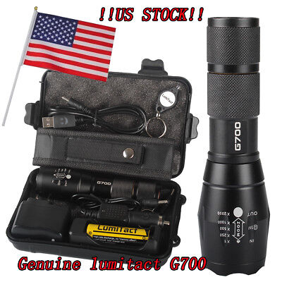100% Genuine Lumitact G700 10000lm LED Tactical Flashlight Military Grade Torch