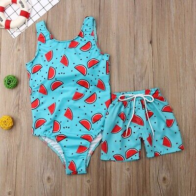 Matching mother and son swimwear women swim costume bikini boys trunks UK STOCK