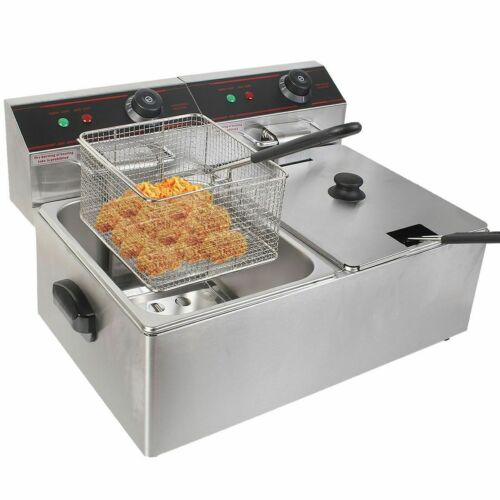 5000W Electric Countertop Deep Fryer Dual Tank Commercial Restaurant Steel New