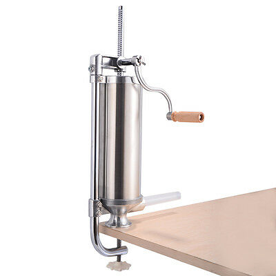 3l Home Kitchen Vertical Sausage Stuffer 5lb Stainless Steel Meat Maker Filler