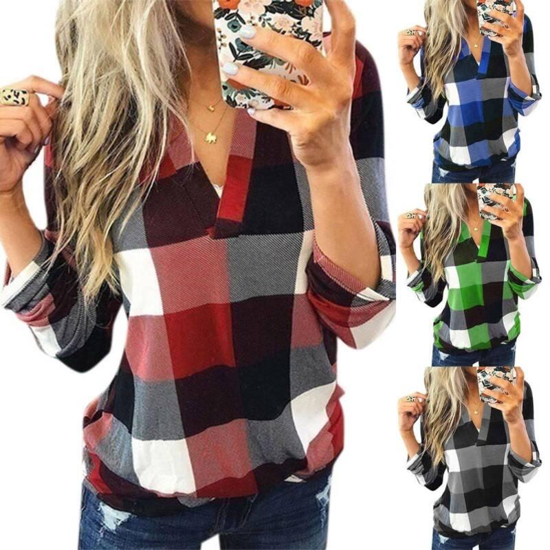 Damen Kariert Langarm T-Shirt Tops Hemdbluse V-Ausschnitt Bluse Shirts Oberteile