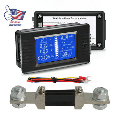 Lcd Display Dc Battery Monitor Meter 200v Voltmeter Amp For Car Rv Solar System