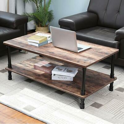 43.3in Accent Wood Coffee Table Tea End Table With Storage Shelf For Living Room