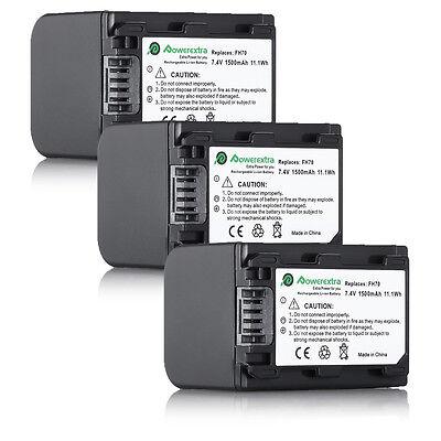 3x Np-fh70 Battery For Sony Handycam Dcr-sr42 Sr45 Sr47 H...