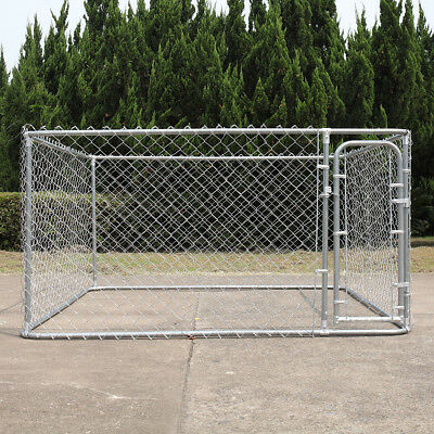 Dog fence 7.5 x 7.5 Ft Heavy Duty Outdoor Chain Link Dog Kennel Enclosure w/Door