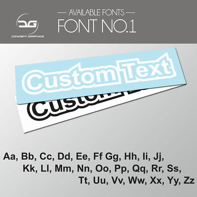 2x Outlined Custom Personalised Text Decal Stickers Name Car Bike Window Vinyl 1