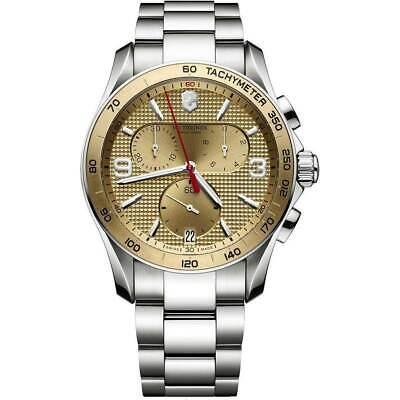 Victorinox Swiss Army Men's Watch Chrono Classic Gold Tone Dial Bracelet 241658