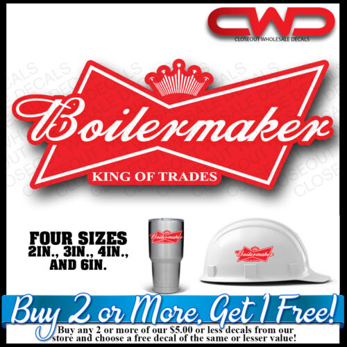 Boilermaker King of Trades Decal Vehicle, Toolbox, hard hat, Truck, Phone 10334