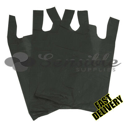 100 X STRONG BLACK PLASTIC VEST CARRIER BAGS 11X17X21