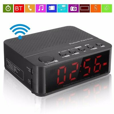 Wireless Bluetooth Digital LED Display Alarm Clock Speaker Sound Mp3 FM Radio