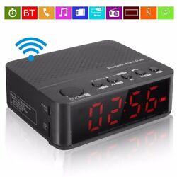 Wireless Bluetooth Digital LED Display Alarm Clock Speaker Sound Mp3 FM Radio