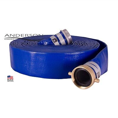 1-12 X 50 Blue Pvc Lay Flat Water Discharge Hose Assembly