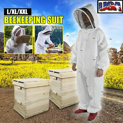 Xl Professional Cotton Full Body Beekeeping Bee Keeping Suit Veil Hood Protect