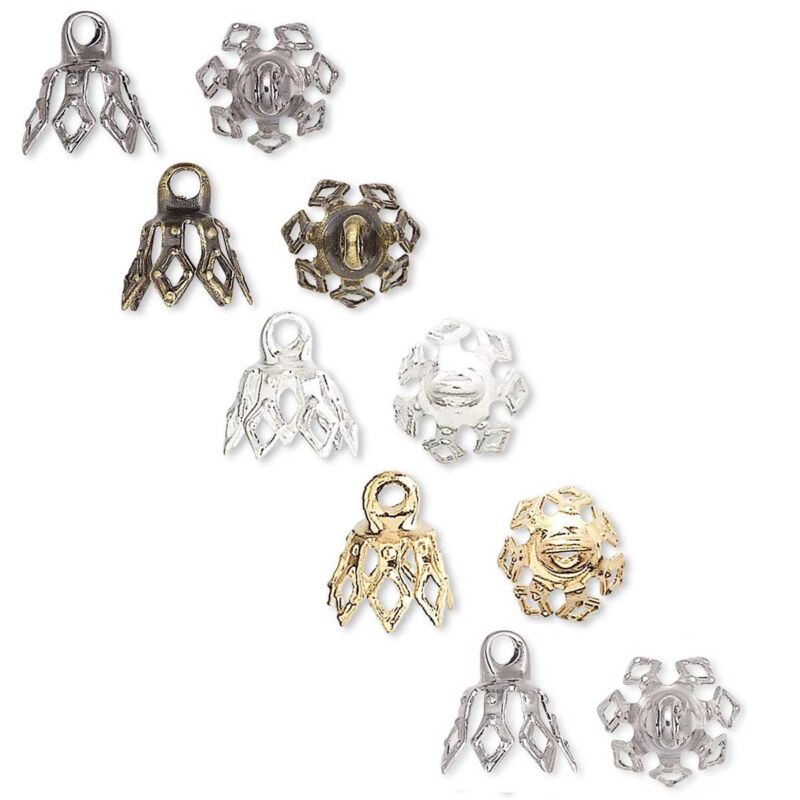 100 Plated Brass Bell Bead End Charm Caps with Loop & 7 Filigree Prong Legs
