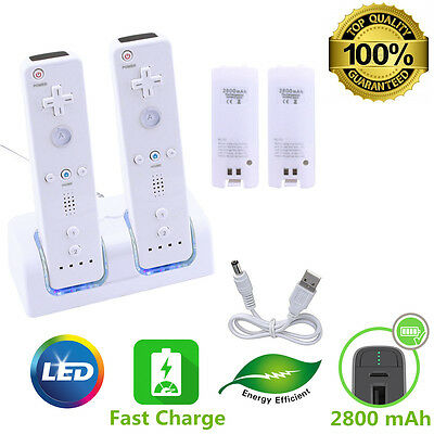 (2 Rechargeable Battery + Dual Charger Charging Dock Station For Nintendo Wii)