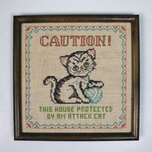 """Embroidered Wall Art Caution This House Protected By Attack Cat, Framed, 12""""x12"""""""
