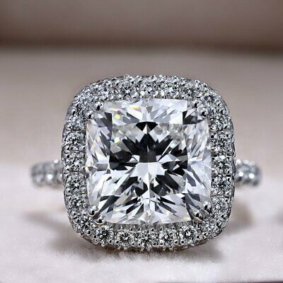 3.50 Ct Cushion Cut Diamond Halo Engagement Ring I Color VS2 GIA Certified 14KWG