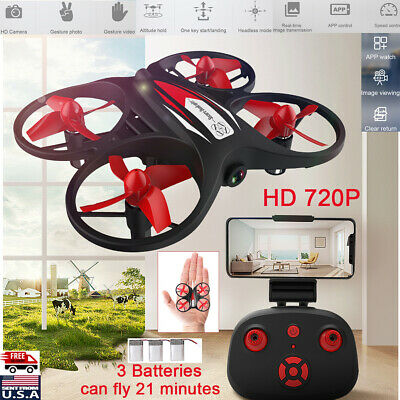 Mini RC Drone LED Wifi HD Camera Quadcopter Helicopter Far-away Control +3 Battery