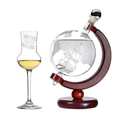 2-teiliges Geschenk Globus Grappa-Set inkl. Gravur Motiv Vintage Kompass