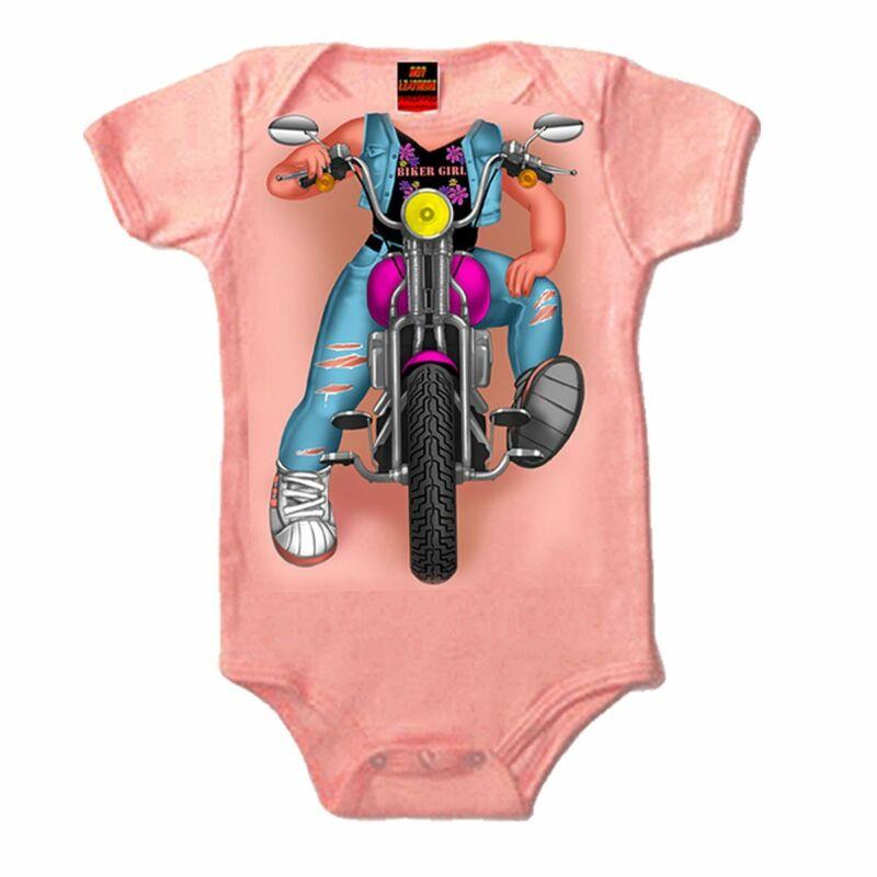 Hot Leathers Headless Girl Biker Pink Bodysuit - 6 Months