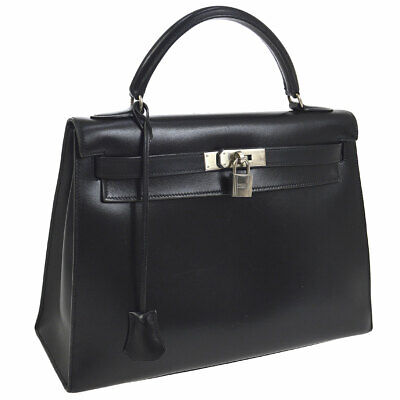 da01f2db97b2 Auth HERMES KELLY 32 2way Hand Bag Black Box Calf Vintage France O02411