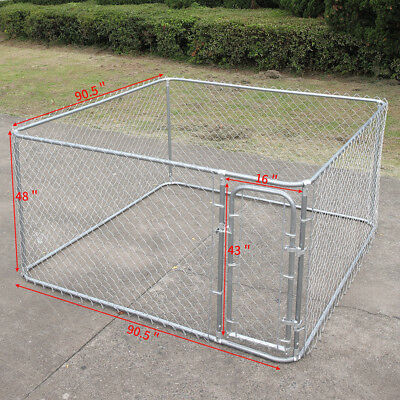 Outdoor Dog Kennel Steel Wire Cage Pet Run House Large Space Play Yard 7.5'x7.5'