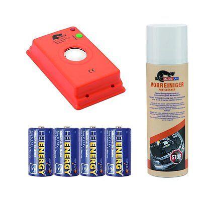 MARDERfix - Akustik Batterie - inklusive Vorreiniger und Batterien - Schutz Auto