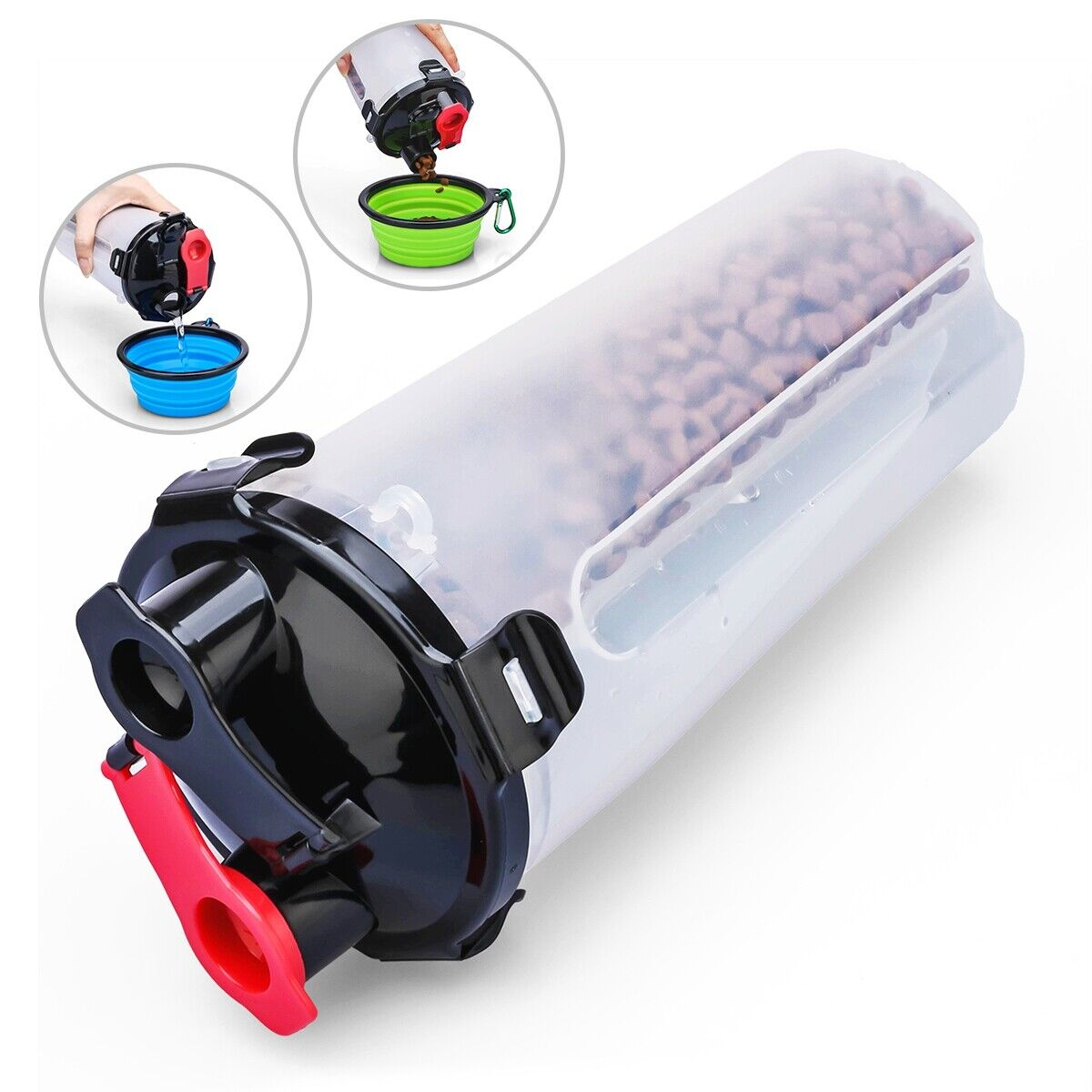 Pet Food Feeder Container 2 in 1 Dog Food and Water Non-Spill for Pet Outdoor