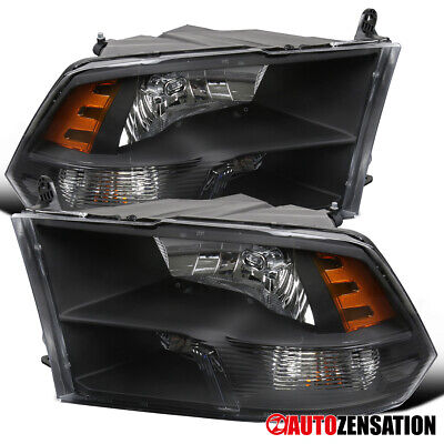For 2009-2018 Dodge Ram 1500/2500/3500 Black Quad Lamps Headlights Pair