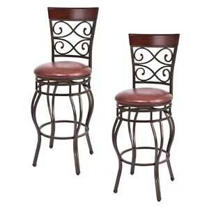 Set Of 2 Vintage Bar Stools Swivel Padded Seat Bistro Dining Kitchen Pub Chair