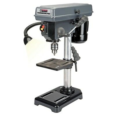 5 Speed 8 Bench Mount Drill Press - Table Rotates 360 Tilts 45 Left Right