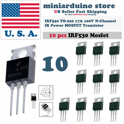 10pcs Irf530 Ir Power Mosfet N-channel 17a 100v Transistor