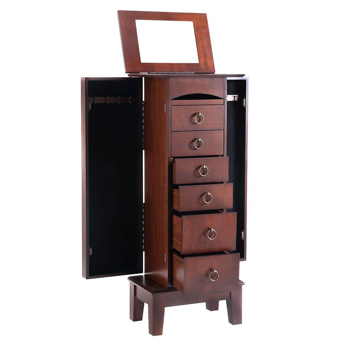 Giantex Wood Jewelry Cabinet Armoire Storage Box Chest Stand